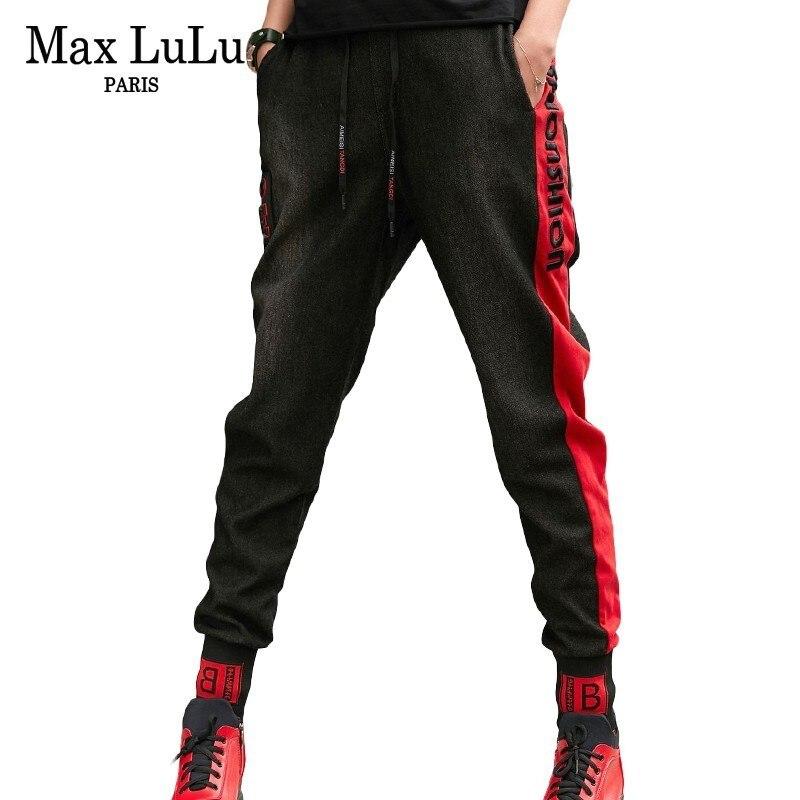 Max LuLu 2019 Spring Luxury Korean Designer Ladies Punk Harem Pants Womens Embroidery Black Jeans Elastic Fitness Loose Trousers