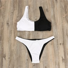 Push Up Swimsuit Women Two Piece Patchwork Color Padded Swimwear High Cut Low Waist Sexy Bikini Set Summer Bathing Suit For Lady lace patchwork beach dress cover up women elegant flare long sleeve sexy low cut high waist swimwear lady tunic bikini playsuits