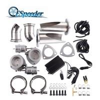 ESPEEDER 2.5'' Stainless Steel Exhaust Cutout Headers B Cut Pipe Catback Pair Vacuum Valve Electric Tip Muffler Kit Cut Out