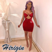 Summer Dresses 2019 New Sexy Womens Hollow Leather Bodycon Mini Dress Sleeveless Solid Skinny