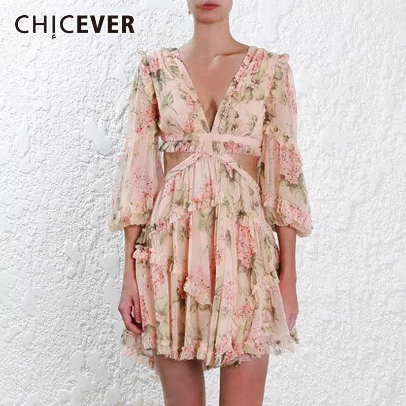 CHICEVER Hollow Out Print Beach Dress For Women Lantern Sleeve High Waist Back Bandage Sexy Female