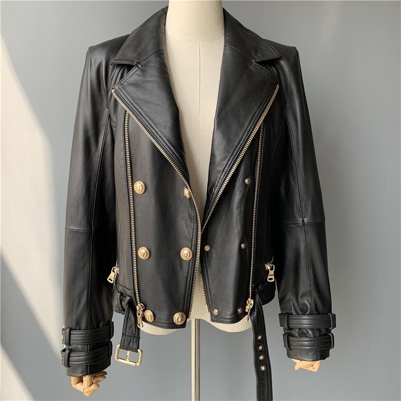 Real Leather Jacket Women Fashion Classical Zipper Jacket Coat with Belt Black Women Ladies Genuine Leather