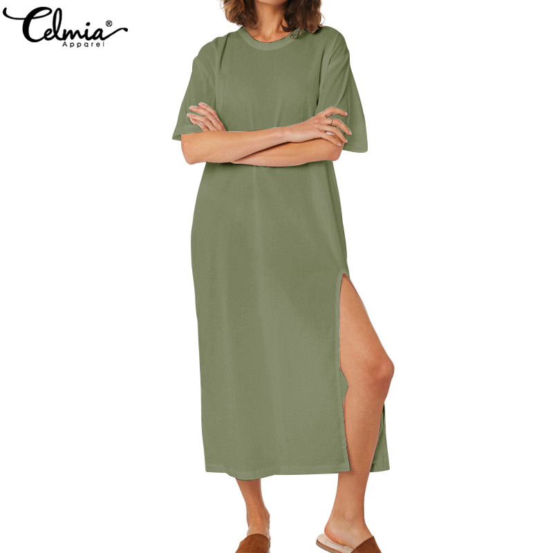 Celmia 2019 Women Sexy Long Shirt Dress Summer Short Sleeve Maxi Dress Split Loose Casual Beach Vestidos Robe Plus Size Sundress