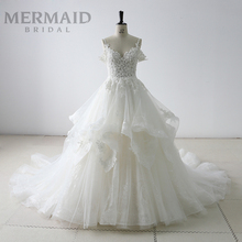 Luxury off shoulder ruffle lace sequin wedding dress bridal gown
