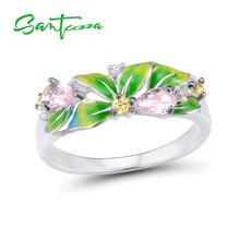 SANTUZZA Silver Ring For Women Pure 925 Sterling Silver Delicate Green Leaves Cubic Zirconia Fashion Jewelry Handmade Enamel