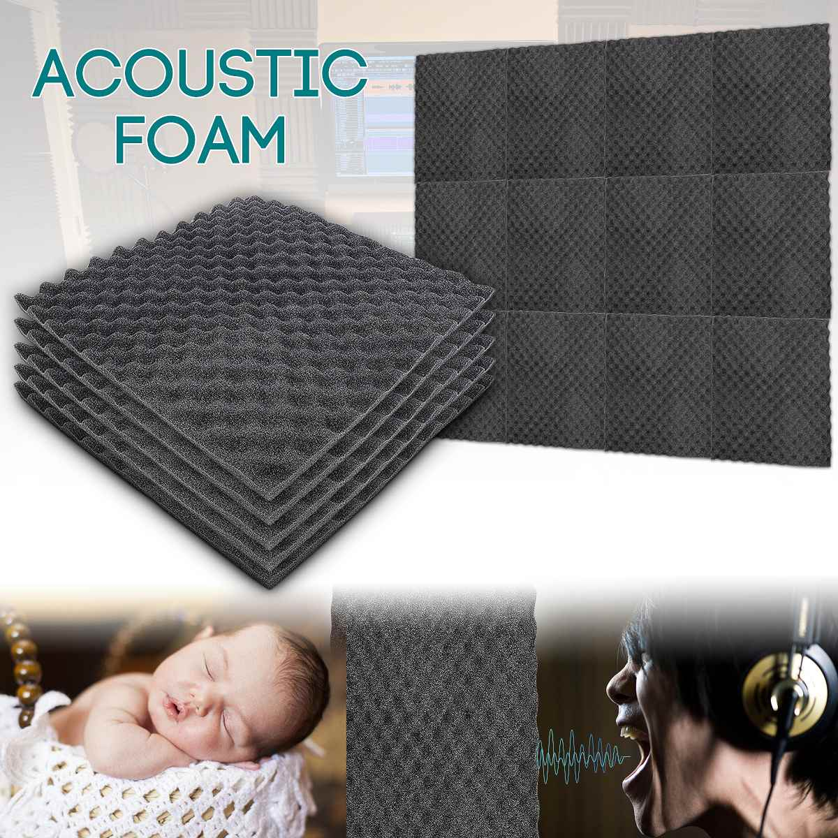50x50cm 1.5cm Black Soundproofing Foam Acoustic Foam Sound Absorbing Wedge Noise Sponge Tiles Wall Panel Suitable For Sound Stud