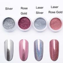 Láser de oro rosa Espejo, uñas con purpurina Uña de cromo holográfico en polvo de plata de pigmento en polvo de uñas de arte decoración SF3063
