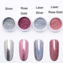 Laserowe lustro w kolorze różowego złota paznokci brokat chromowany proszek do paznokci holograficzny srebrny pył proszek pigmentowy paznokci dekoracje artystyczne SF3063