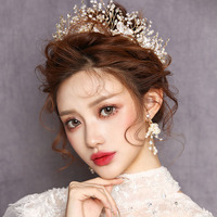 Baroque Headband Bride Mermaid Princess Gold Crown Diadem Wedding Hair Accessories Bridal Headpiece Head Jewelry Girl Tiara Sets