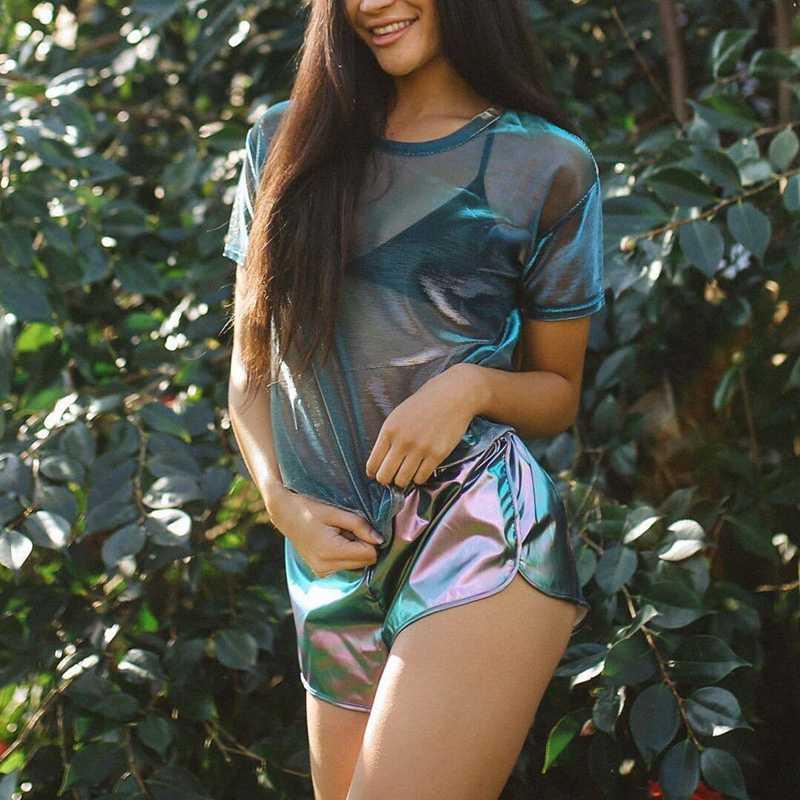 섹시한 빈티지 see-through 레이저 컬러 shiny women's ladies 탑스 반소매 셔츠 캐주얼 블라우스