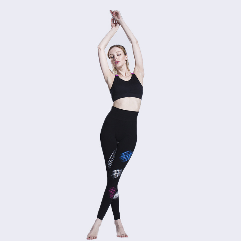 Seamless Color Painting Movement Cropped Pants Fitness Outdoor Sweat Leggings