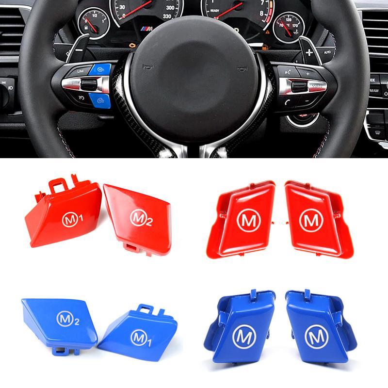2 pièces cache de volant Personnalisé bouton rouge M1m2 Mode Bouton Pour BMW 2013-2020 F80 F82 F83 M3 M4 Cabine
