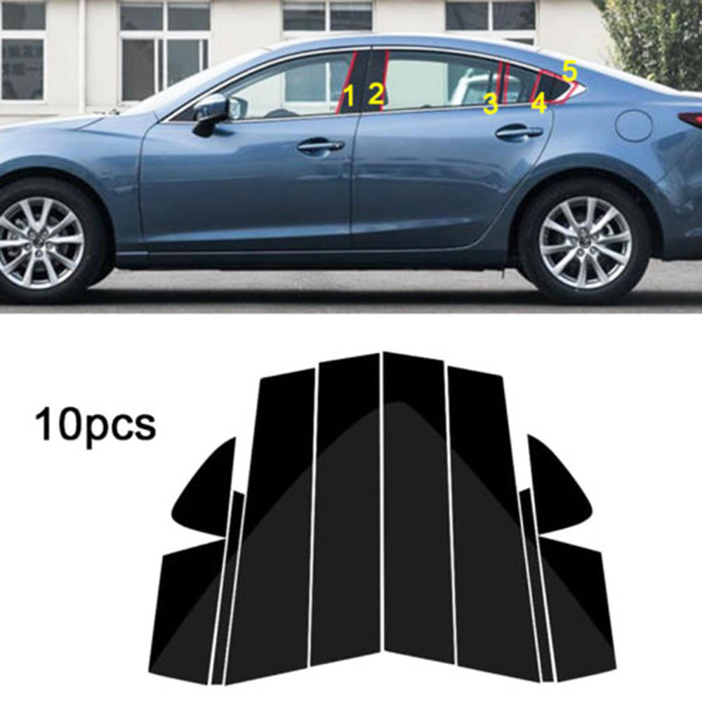 10PC Window Pillar Posts trim Cover Molding for Mazda 6 Atenza 2014 2018 Middle BC Column Sticker For MAZDA 6 Strip-in Chromium Styling from Automobiles & Motorcycles