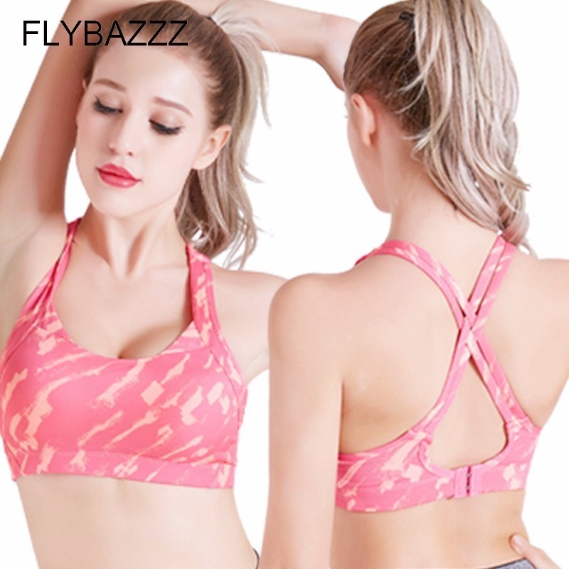 New Women Sexy Print Cross Design Sports Bra Push Up Shockproof Vest Top with Padding for Running Gym Fitness Jogging Yoga Shirt in Sports Bras from Sports Entertainment