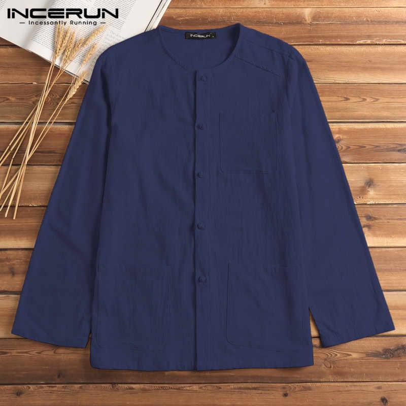 INCERUN китайский стиль рубашка мужское хлопковое белье с длинным рукавом Винтаж Кнопка Мужская рубашка повседневная с карманами мешковатый однотонные Топы Camisa S-5XL