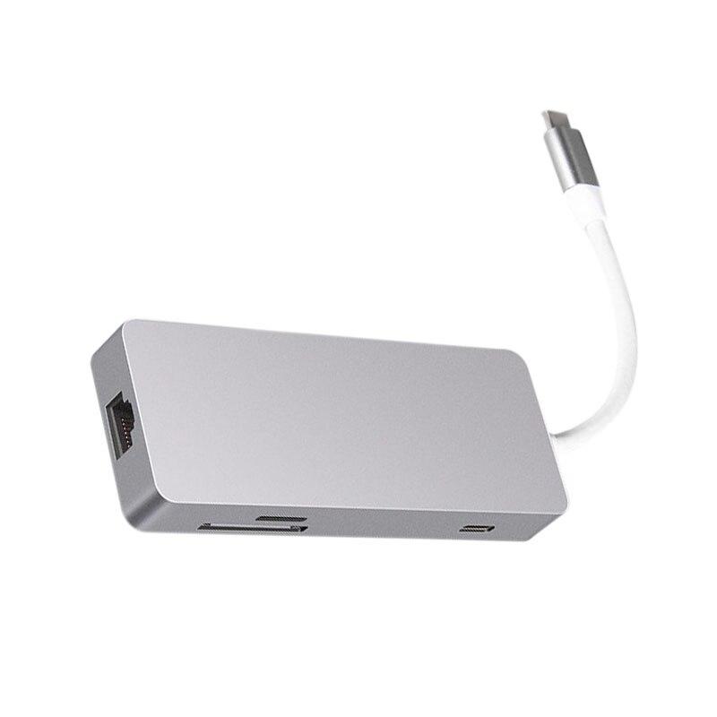 Type C Hub 7 en 1 adaptateur HDMI Interface multimédia USB3.0 Hub Ethernet RJ45 Port HD convertisseur vidéo SD TF lecteur de carte pour Mac