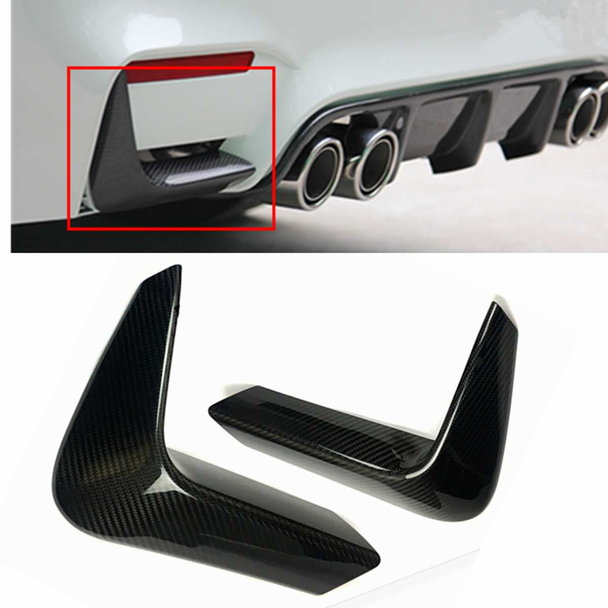 1Pair Car Carbon Fiber Rear Bumper Lower Corner Valance Covers Splitter Spoilers fit for BMW F80