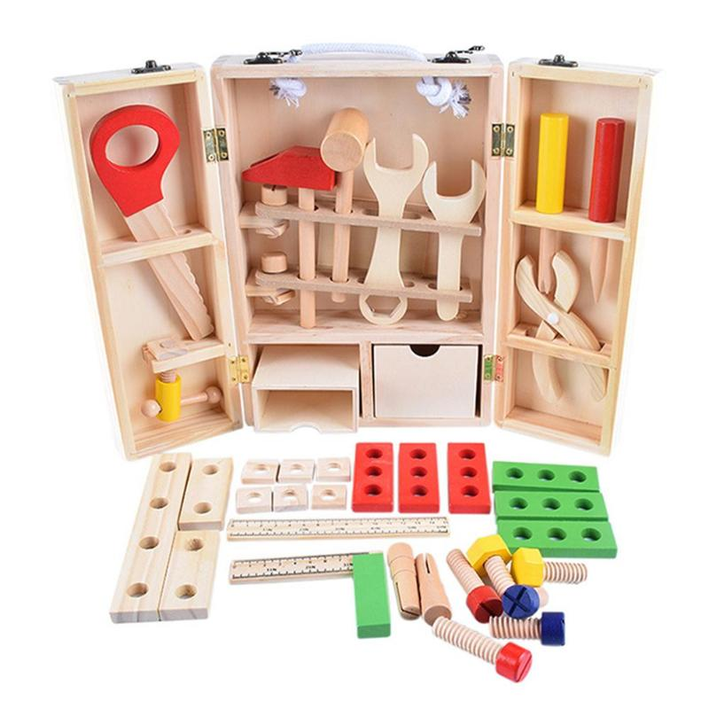 Kids Wood Multifunction <font><b>Tool</b></font> <font><b>Toys</b></font> Funny Montessori Educational DIY Maintenance Box <font><b>Toys</b></font> for Children Birthday Christmas Gifts image