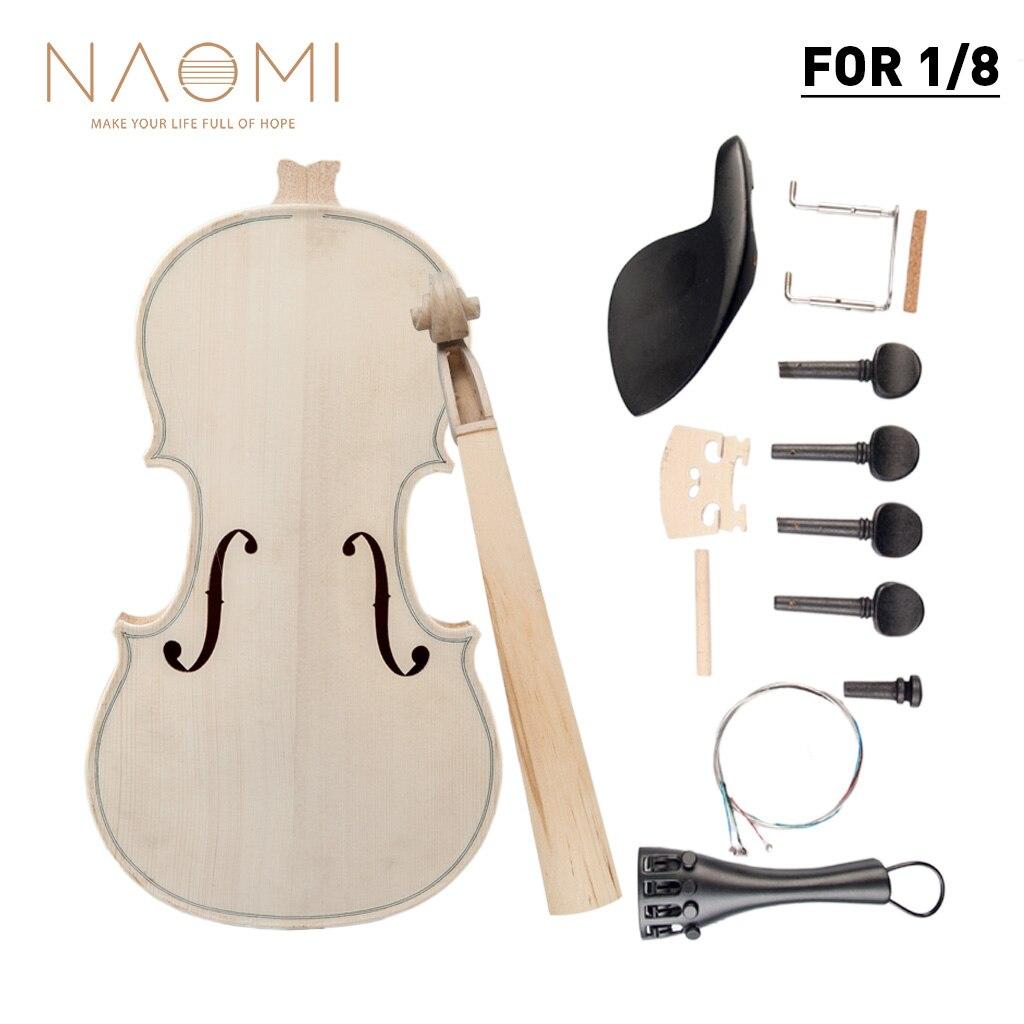 Naomi 1/8 Violin Diy Kit Natural Solid Wood Acoustic Violin Fiddle Kit Spruce Top Maple Back Neck Fingerboard Violin Parts New Violin Parts & Accessories