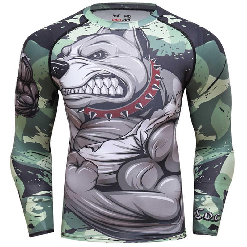 2018 Mens כושר דחיסת חולצה O-צוואר ארוך שרוולים T חולצה בעלי החיים 3D הדפסי MMA Rashguard גרביונים פיתוח גוף גבר חולצה