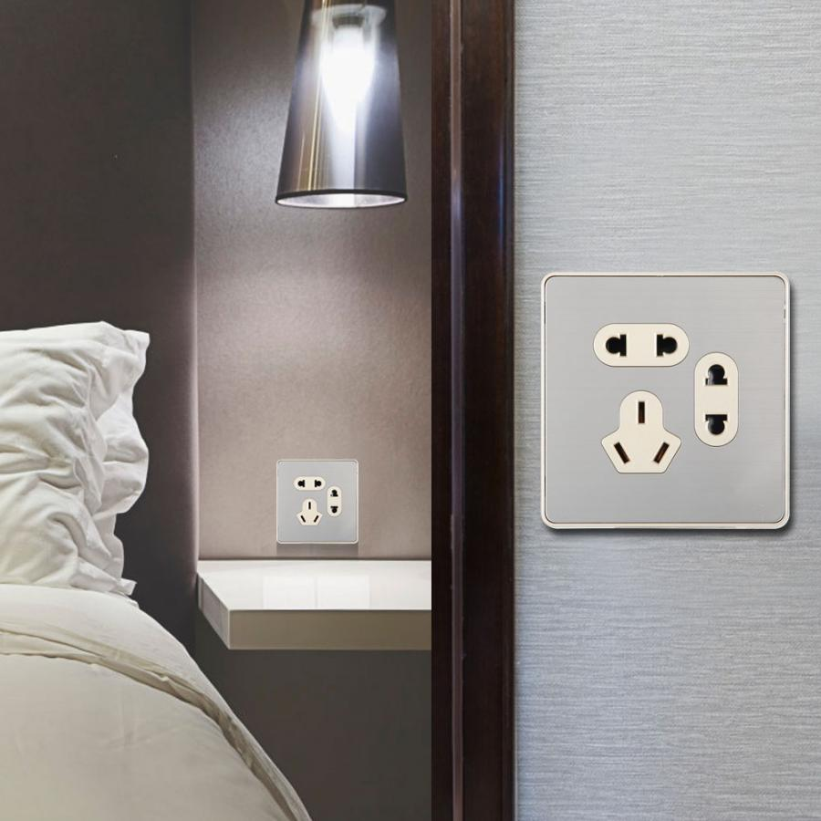 Household Wall Outlet Stainless Steel Seven Holes Wall ...