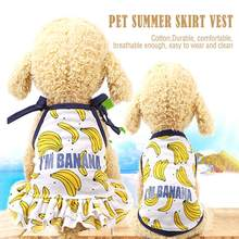 Pet Banana Pattern Skirt Dress Cute Fruit Design Vest Summer Pet Dog Clothes For Small Dogs Puppy Soft And Comfortable(China)