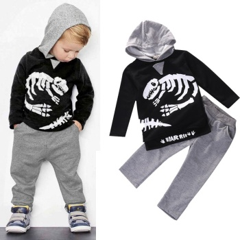 2 pieces Long Sleeve Dinosaur Print Hoodie Top and Pant Set For Toddler Boy Autumn Clothes Boys Clothing Sets