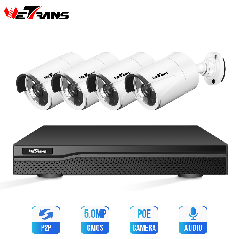 Wetrans CCTV Camera Security System Kit 4MP H.265 4CH POE NVR Audio IP Camera Outdoor Home Video Surveillance Set 1080P Camara image