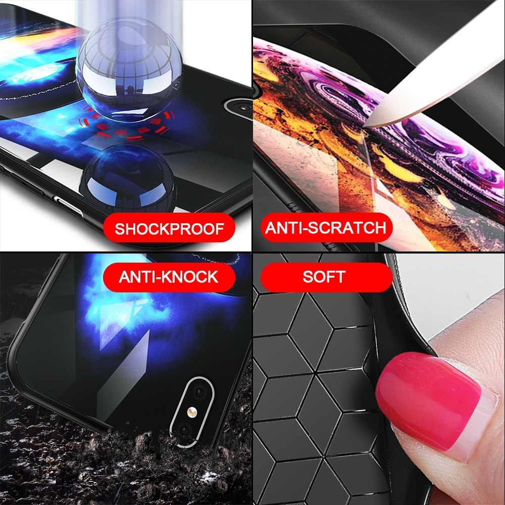 TOMKAS Роскошный чехол для iPhone X XS MAX XR XS стеклянный силиконовый чехол для телефона для iPhone 7 8 Plus Чехлы для iPhone 6 S 6s