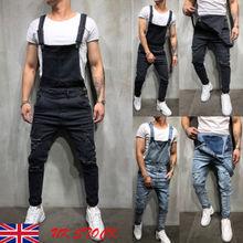 Men Distressed Denim Carpenter Overalls Bib Jumpsuits Moto Biker Jean Pants Sleeveless Fashion Street Wear