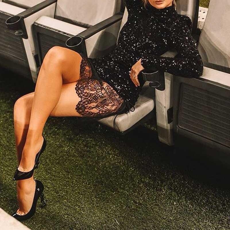 Сексуальное женское облегающее черное платье vestidos, платья для вечеринок, Украинская одежда sukienki, кружевное платье с блестками и длинным рук
