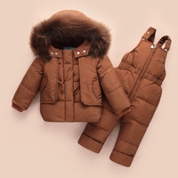 Baby Girl Winter Coats With Fur Hood 2018 Newborn Clothes Suit Thick Child Boys Simple Snow proof Open Zipper Shirt Down Jacket