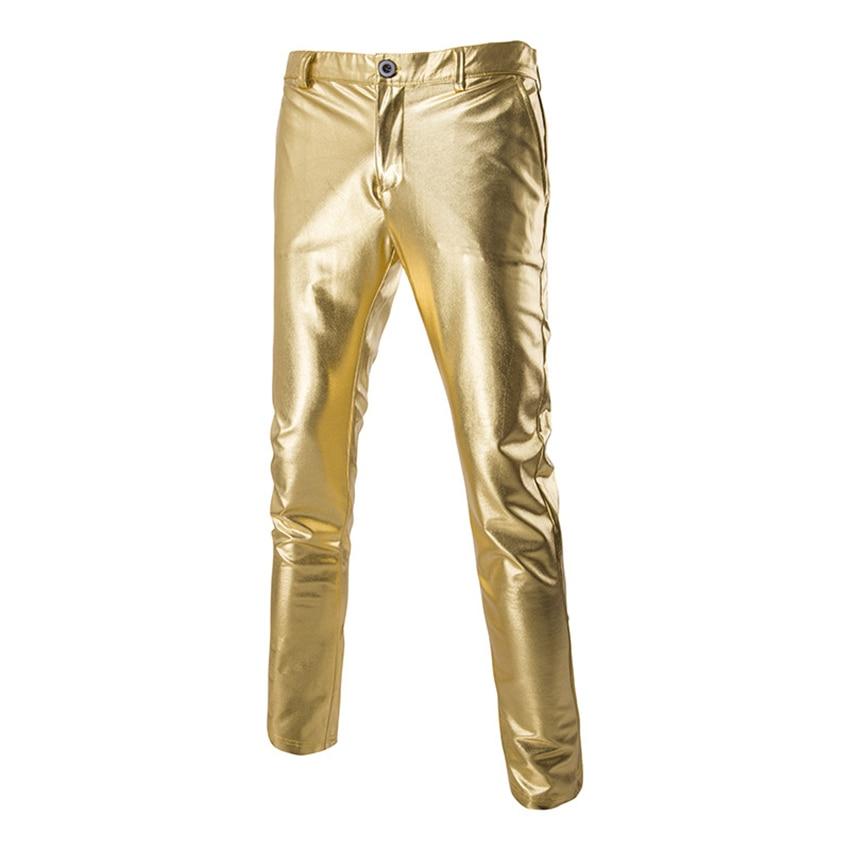Gold Silver Metallic Man Slim Pants Night Club Hip Hop Stage Dance Pants Men Party Singing Fashion Fit Straight Leg Trousers