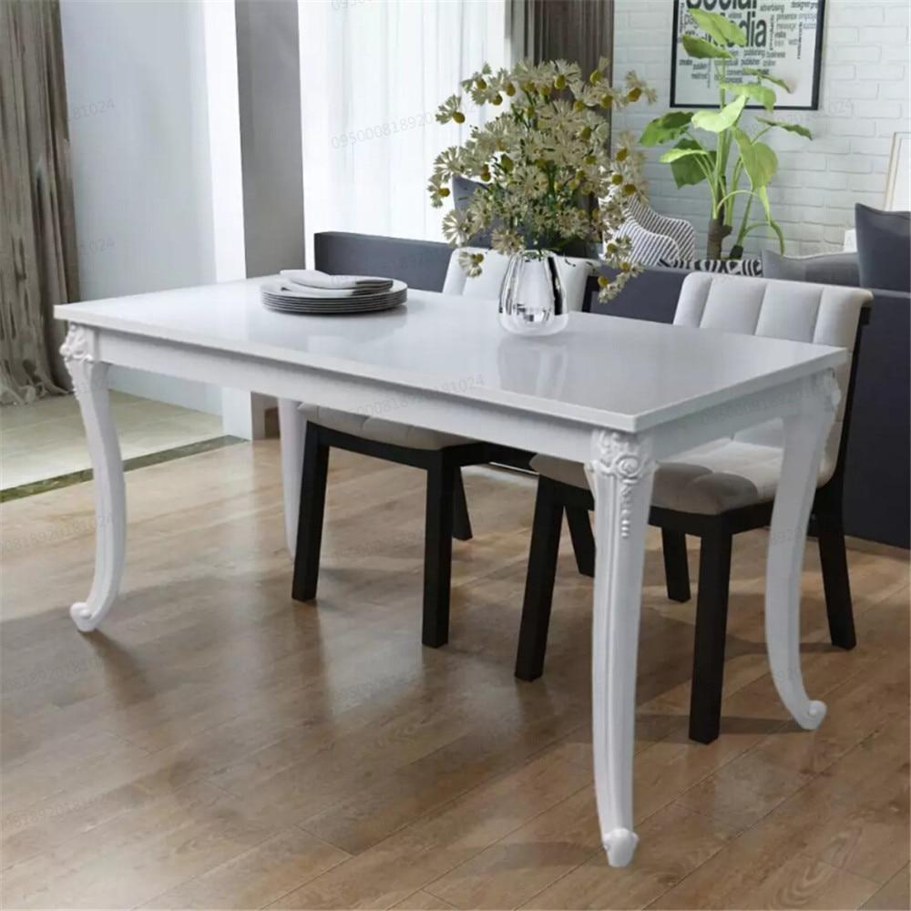VidaXL Dining Table 120x70x76 Cm High Gloss White Dining Table MDF Table Top And Plastic Legs Dining Room Furniture243383