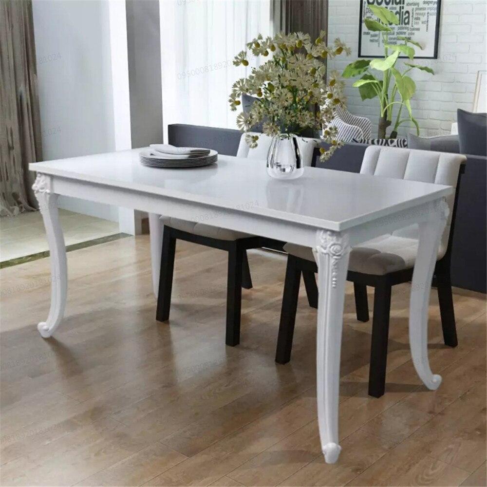 VidaXL Table À Manger 120x70x76 Cm Blanc Brillant Table À Manger Plateau EN MDF Et Pieds En Plastique Salle à manger Furniture243383