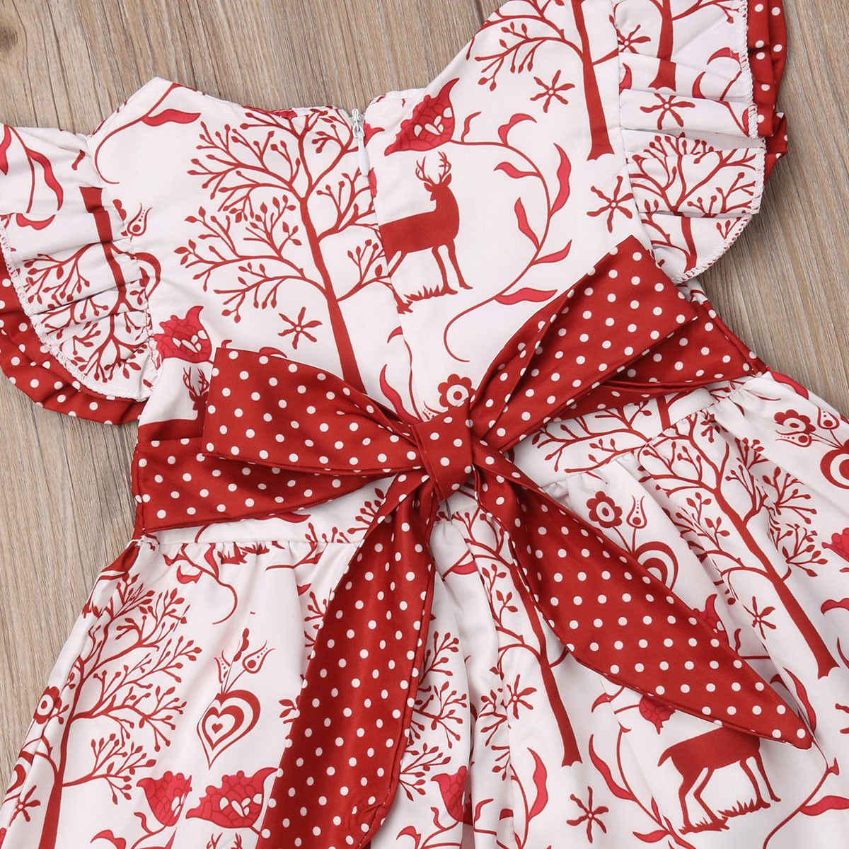 王女クリスマスベイビーガールドレスかわいい女の子鹿プリントちょうチュチュドレス赤ちゃんのクリスマスドレス + ヘッドバンド