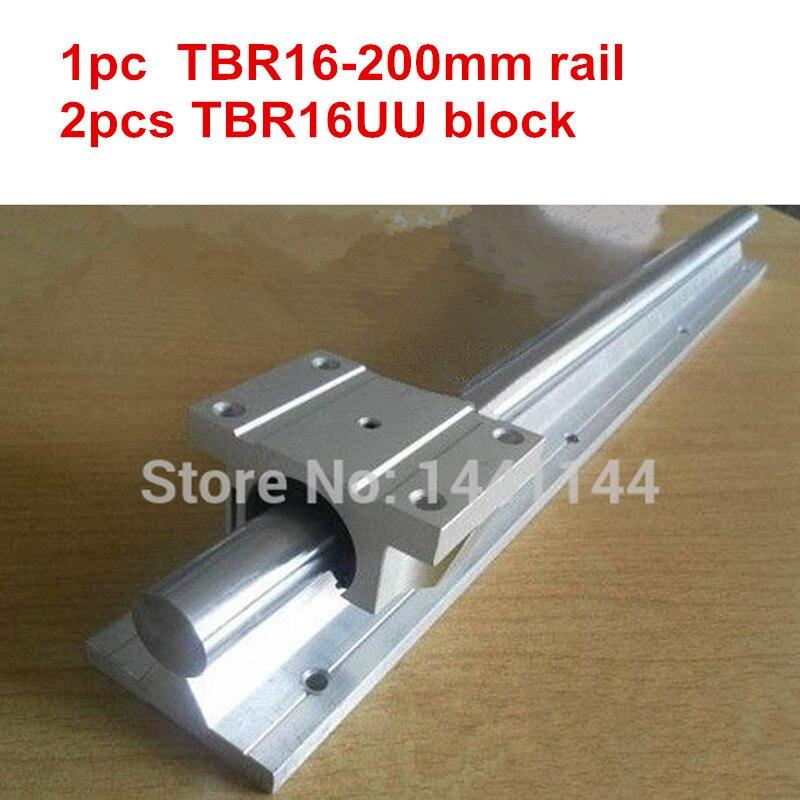 TBR16 linear guide rail: 1pcs TBR16 - 200mm linear  rail + 2pcs TBR16UU Flange linear slide blockTBR16 linear guide rail: 1pcs TBR16 - 200mm linear  rail + 2pcs TBR16UU Flange linear slide block
