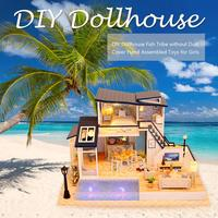 DIY Dollhouse Fish Tribe Without Dust Cover Hand Assembled Toys For Girls Baby Seaside Villa Style Interesting With LED Lights