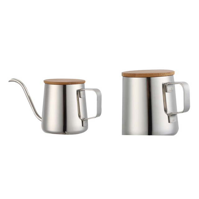 350Ml Long Narrow Spout Coffee Pot Gooseneck Kettle Stainless Steel Hand Drip Kettle Pour Over Coffee And Tea Pot With Wooden 2
