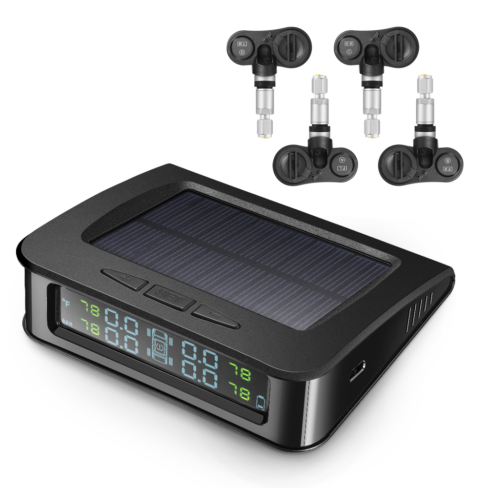 <font><b>C220</b></font> Car Tyre Pressure Monitoring System Solar Charging <font><b>TPMS</b></font> with 4 Internal Sensors Digital LCD Display Auto Alarm System image
