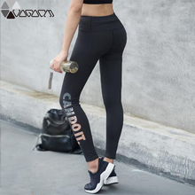 Women Sport Fashion Gym Yoga Legging High Waist Hip Up Black Letter Female Pants Fitness Jogging Workout Mujer Seamless Gym Pant