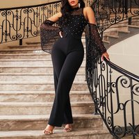 Evening Party Date Lace Cape Flare Sleeve Off Shoulder Jumpsuit Women Office Lady Slim Faux Pearl Mesh Gothic Black Romper