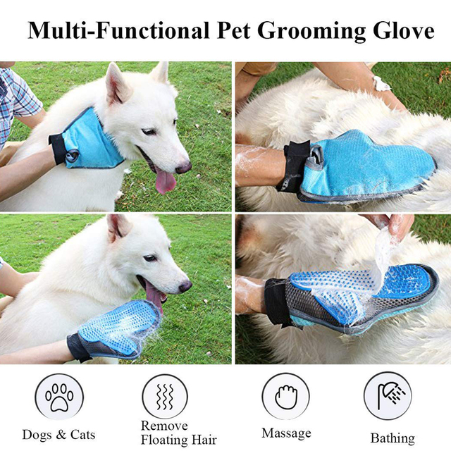 HOT-Pet Grooming Glove, 290 Soft Tips Gentle Pet Hair Remover Glove for Dog and Cat with Long and Short Fur, 3-in-1 Efficient  2