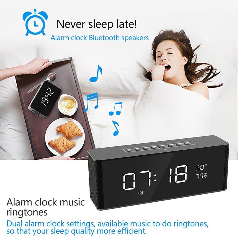 Portable haut-parleur Double Alarme Horloges Bluetooth Haut-Parleur Pour Mobile Téléphones Soutien TF Carte FM Radio Sans Fil Colonne Haut-Parleur