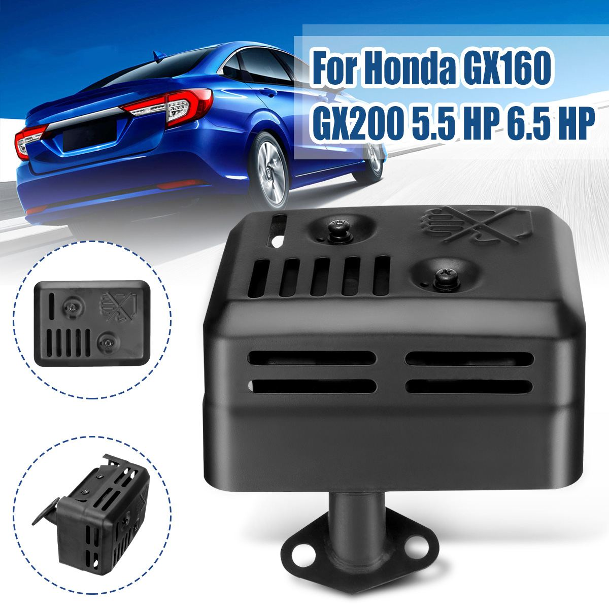 For Honda GX120 GX160 GX200 5.5 For HP 6.5 For HP  Exhaust Muffler System With Heat Shield Assembly Gasket