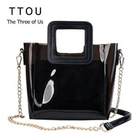 26b9e0294 TTOU Fashion Handle Summer Bag Transparent Shoulder Bag Tote Women Hand  Bags PVC Clear Handbag Composite