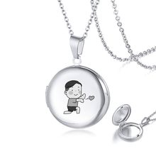 Valentine's Day Gift for Her Stainless Steel Locket Necklace in Silver Engravable(China)