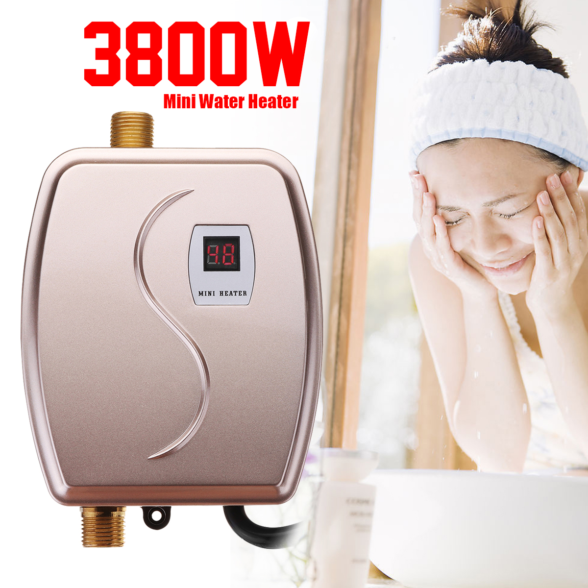 Mini Instant Heating 3800W Electric Water Heater LED Display Electric Hot Water Heater Instantaneous Leakage Protection Kitchen