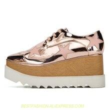 6295f17b2 Plataforma Sapatos Oxford De Couro metálico Clássico Da Moda As Sapatilhas  Das Mulheres de Design Da