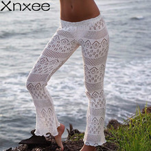 womens pants summer see through crochet knitted sexy transparent beach casual cotton ladies white long flare pants mesh new цена